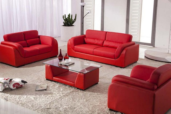 Red leather sofas three piece suite Premium Leather Sofas